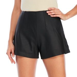 NM High Waist Genuine Leather Shorts